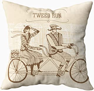 Anucky Pillow Covers,Throw Pillow Cases, Retro Gentleman Lady in Tweed Costumes Tandem Bicycle for Your Home Printed with Fashion Pattern Soft Case for Bedroom 18x18 Inch Decorative Pillow Covers