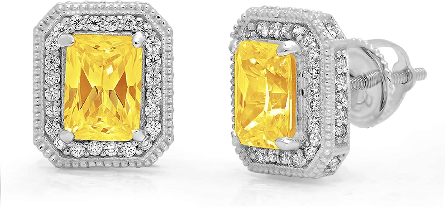 3.92cttw Emerald Round Cut Halo Solitaire Genuine Canary Yellow CZ Unisex Designer Solitaire Stud Screw Back Earrings Solid14k White Gold