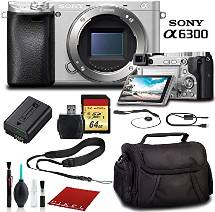 $779 Get Sony Alpha a6300 Mirrorless Digital Camera Silver ILCE-6300/S with Bag, 64GB Memory Card, Memory Card Reader and More.
