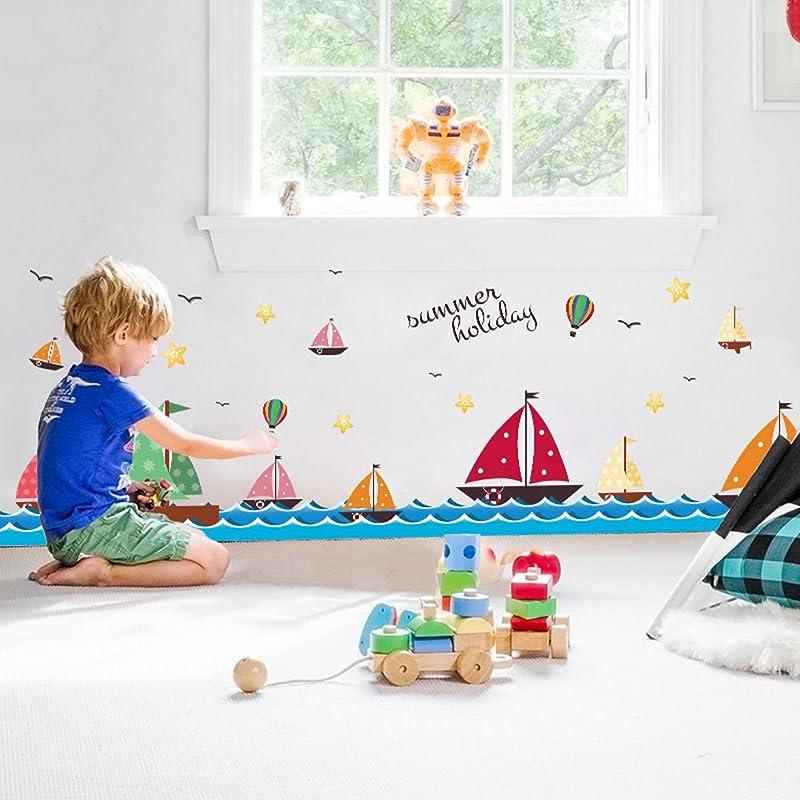 Wallpark Cartoon Blue Ocean Sea Sailboat Seagull Baseboard Removable Wall Sticker Decal Children Kids Baby Home Room Nursery DIY Decorative Adhesive Art Wall Mural