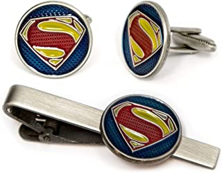 SharedImagination Superman Cufflinks, Krypton Tie Clip, DC Comics Batman vs Superman Tie Tack Jewelry, Nightwing Cuff Links Link Wedding Party Gift, Young Justice League Avengers Groomsmen Gifts