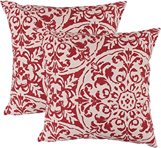 red and cream throw pillows