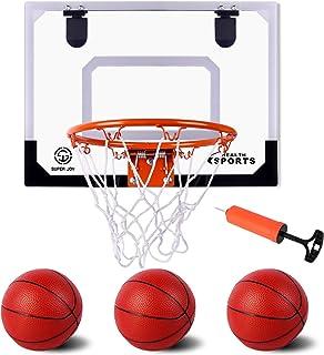 """AOKESI Indoor Mini Basketball Hoop Set for Kids 18"""" x 14"""" XL Size Basketball Hoop for Door & Wall Mobile Basketball Hoop Bedroom Basement Office Basketball Hoop Indoor Sports Toys"""