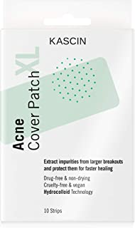 KASCIN Spot Treatment Puistje Patch Large Cover XL - 10 Spot Strips - Hydrocolloïde Acne Patch voor lichaam en grotere bre...