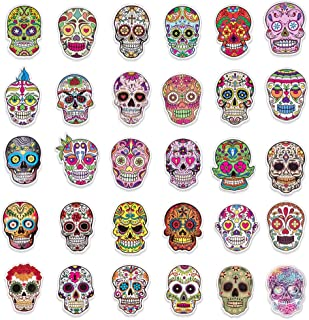 Sugar Skull Stickers, 60 Packs,Mexican Day of Dead Sticker for Water Bottle, Laptop, Luggage, Bike, Computer