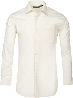 Luxton Mens Dress Shirts, Men Slim Fit Long Sleeve Cotton Poly Shirt - Available in More Colors