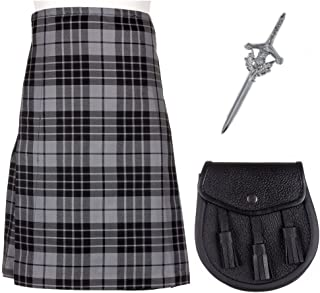 3 Piece Kilt Package with Sporran and Kilt Pin - Sizes 30-44 - Granite Grey