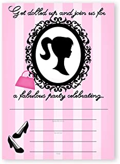 POP parties Glamour Girl Party Large Invitations - 10 Invitations + 10 Envelopes