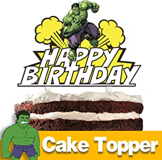 Superhero Happy Birthday Cake Topper Cartoon Theme Party Cake Decor Perfect for Baby Shower Child Birthday Party Supplies Adorable The Superheroes Mirrored Acrylic Decorations