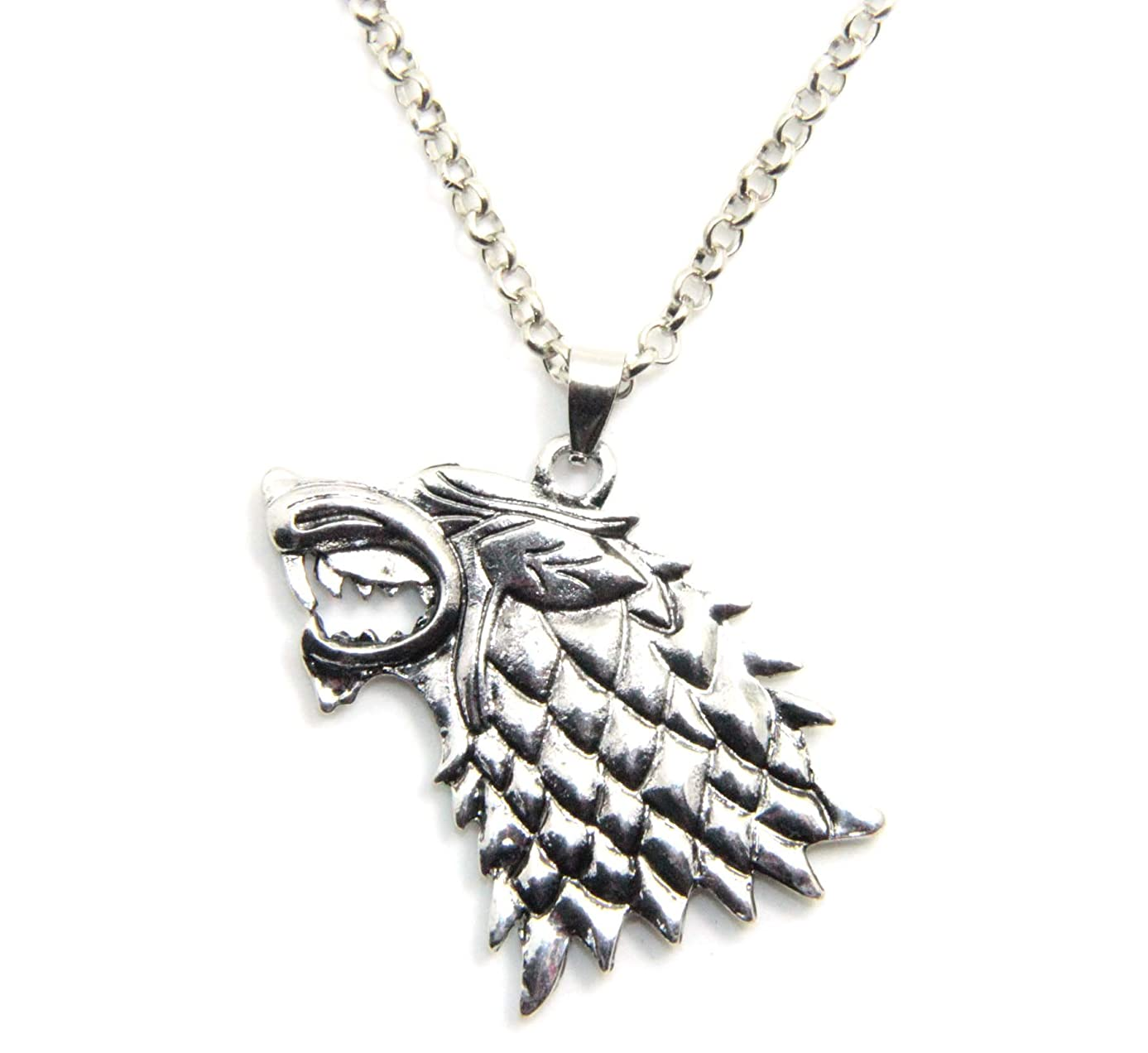 Inspired By Game of Thrones Song of Ice and Fire Vintage Stark Dire Wolf Pendant Necklace