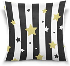 "MASSIKOA Black White Gold Stars Stripes Decorative Throw Pillow Case Square Cushion Cover 20"" x 20"" for Couch, Bed, Sofa o..."