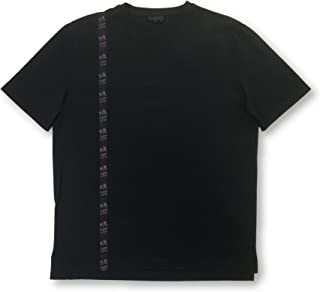 Paris silk T-shirt in black with pink abstract line - M