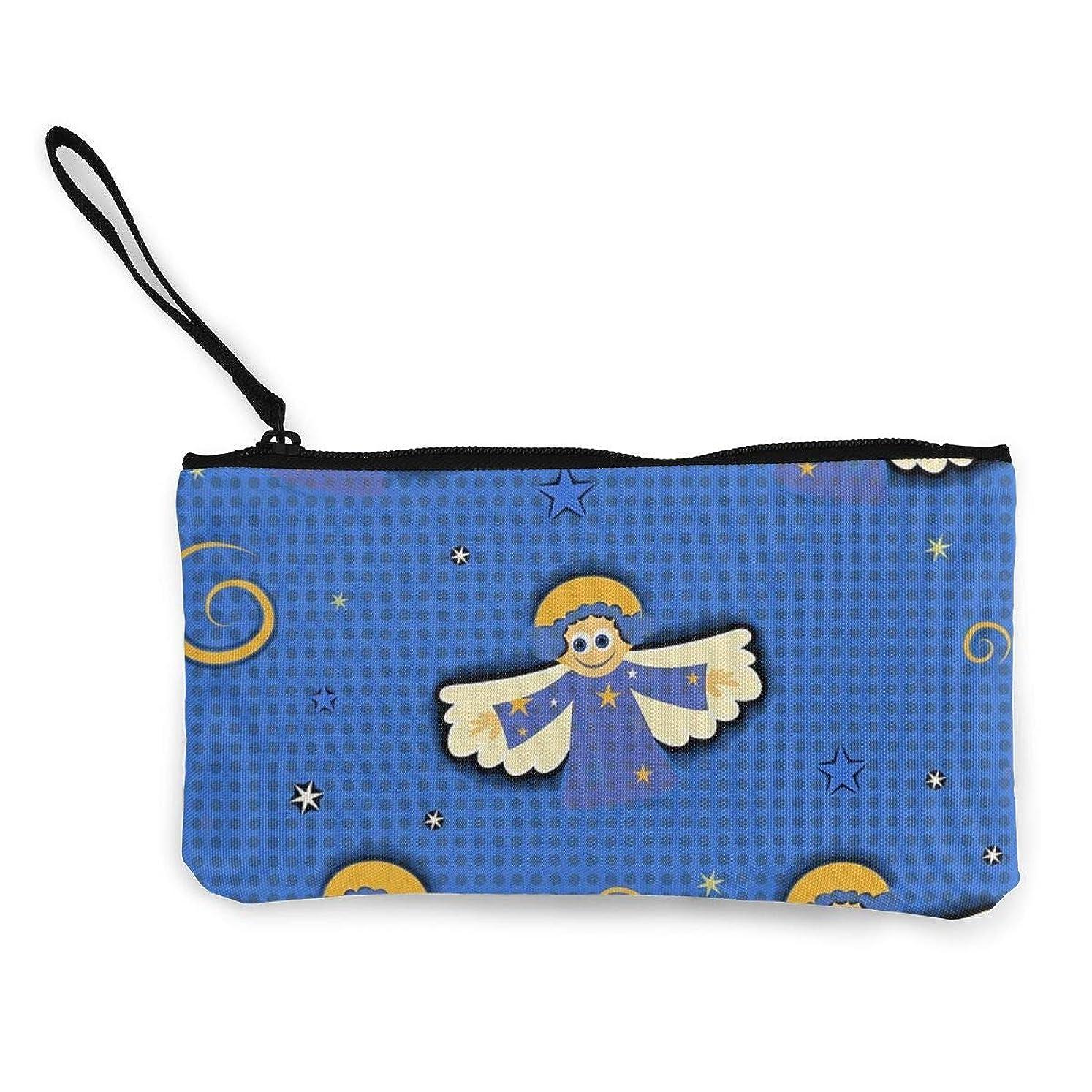 ヒップ地質学みなさんErmiCo レディース 小銭入れ キャンバス財布 可愛い マンガ 天使 小遣い財布 財布 鍵 小物 充電器 収納 長財布 ファスナー付き 22×12cm