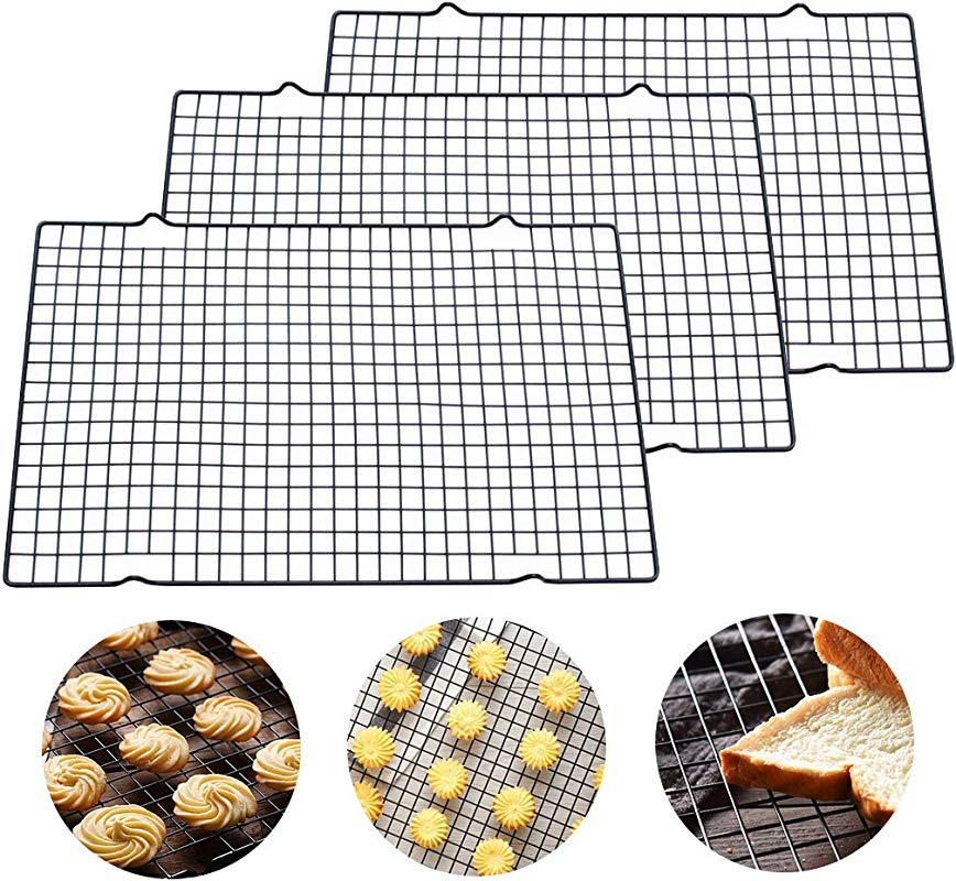 10 By 16 Inch Nonstick Cooling Rack Grid For Cooling Cookies Cakes Bread Set Of 3