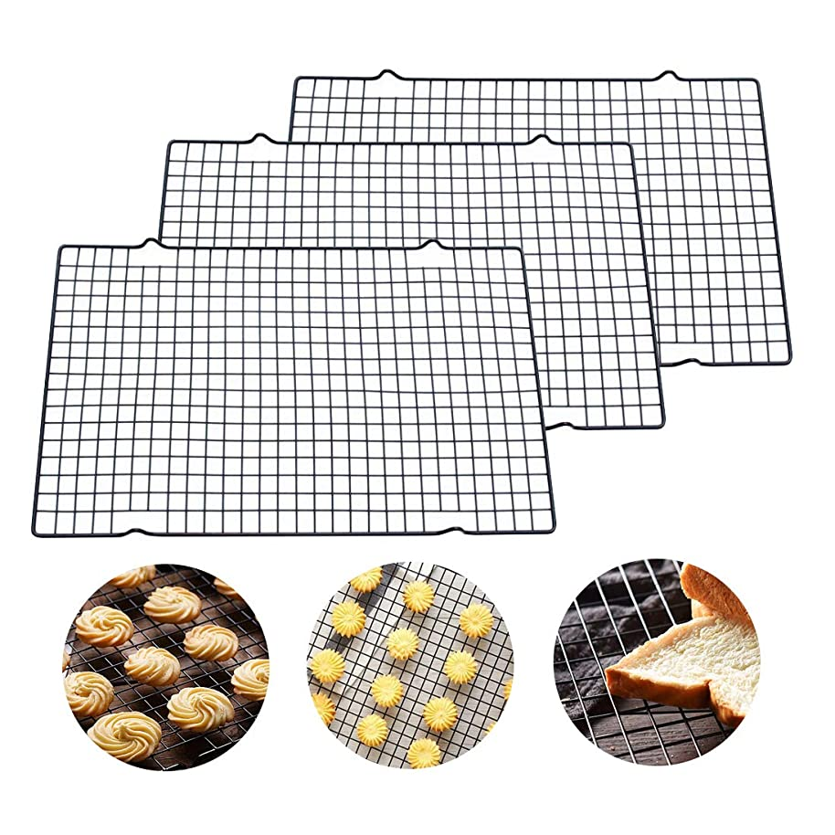 10-by-16-Inch Nonstick Cooling Rack Grid for Cooling Cookies Cakes Bread, Set of 3