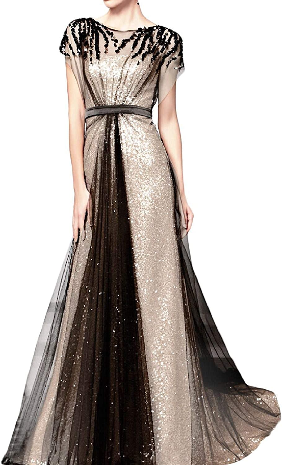 LUBridal Women's High Neck A Line Long Sequin Evening Dresses 2019 Formal Prom Gown with Sleeves