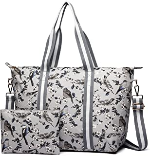 Miss Lulu 1 Set Women Flower Bird Foldaway Overnight Handbag Matte Oilcloth Large Shoulder Bag Light Weight Tote Messenger Satchel