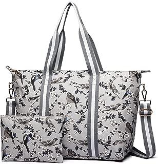 Miss Lulu 1 Set Women Flower Bird Foldaway Overnight Handbag Matte Oilcloth Large Shoulder Bag Light Weight Tote Messenger Satchel