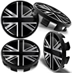 Biomar Labs 4 x 68mm Wheel Centre Alloy Hub Center Caps Hubcaps Compatible with 36136783536 Silver UK Flag Union Jack CB 29