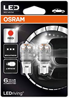 Osram W16W T16 LED Premium Retrofit RED Bulbs 2pcs 2W 12V W2,1X9,5D [Energy Class A] 9213R-02B
