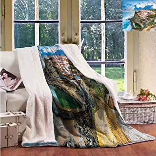 Sunnyhome Cashmere Velvet Mediterranean Portuguese Town Upgraded Thick Lazy Blanket W59x31L