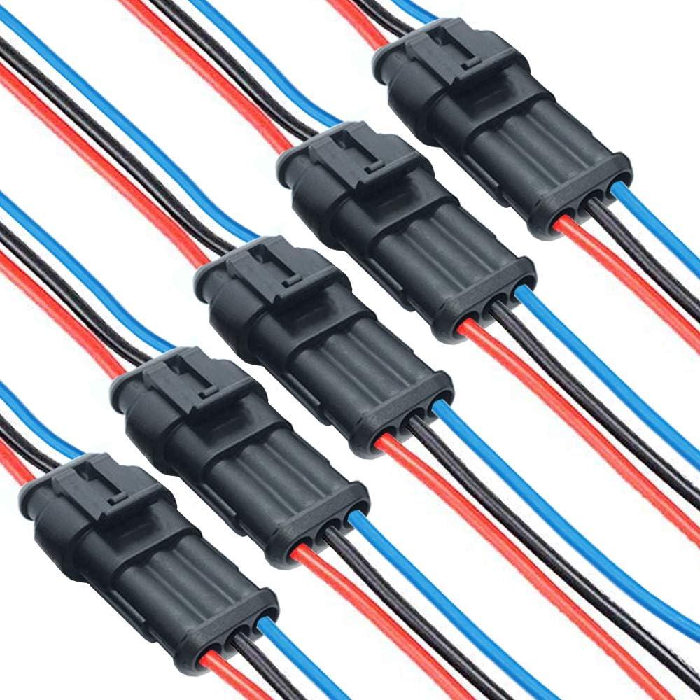 DONJON Kabel Steckverbinder Stecker,3polig Elektrischer Anschluss Stecker,Auto wasserdichte Elektrische Stecker mit 16AWG-Kabel f/ür KFZ LKW Auto Kayak Boote Roller Motorrad 5 S/ätze