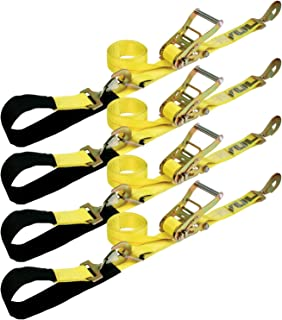 VULCAN Axle Tie Down Combo Strap with Snap Hook Ratchet - 2 Inch x 114 Inch, 4 Pack - Classic Yellow - 3,300 Pound Safe Working Load