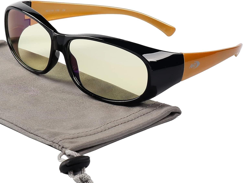 Fit Over Blue Light Blocking Glasses - AHT Computer Gaming Eyeglasses for Women and Men, Fitover Your Prescription or Reading Glasses, Sleep Better, Reduce Eye Strain(Black-Glod)