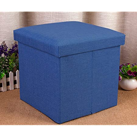 Sterling Kids Square Storage Box Linen Stools for Sitting in Living Room for Toys (Blue, 30 x 30 x 30 cm)