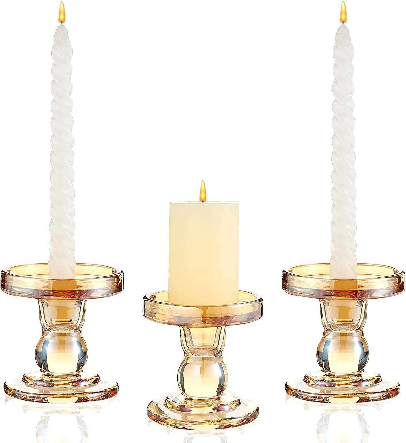 Gold Safety and trust Glass Candle Indefinitely Holder Taper for Pillar Candlest