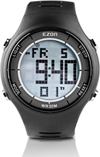 Ezon Digital Sports Watch Men's Multifunction Watch Alarm Stopwatch Countdown Chronograph with LCD Backlight 30 M Water Resistant for Running Exercise Fitness