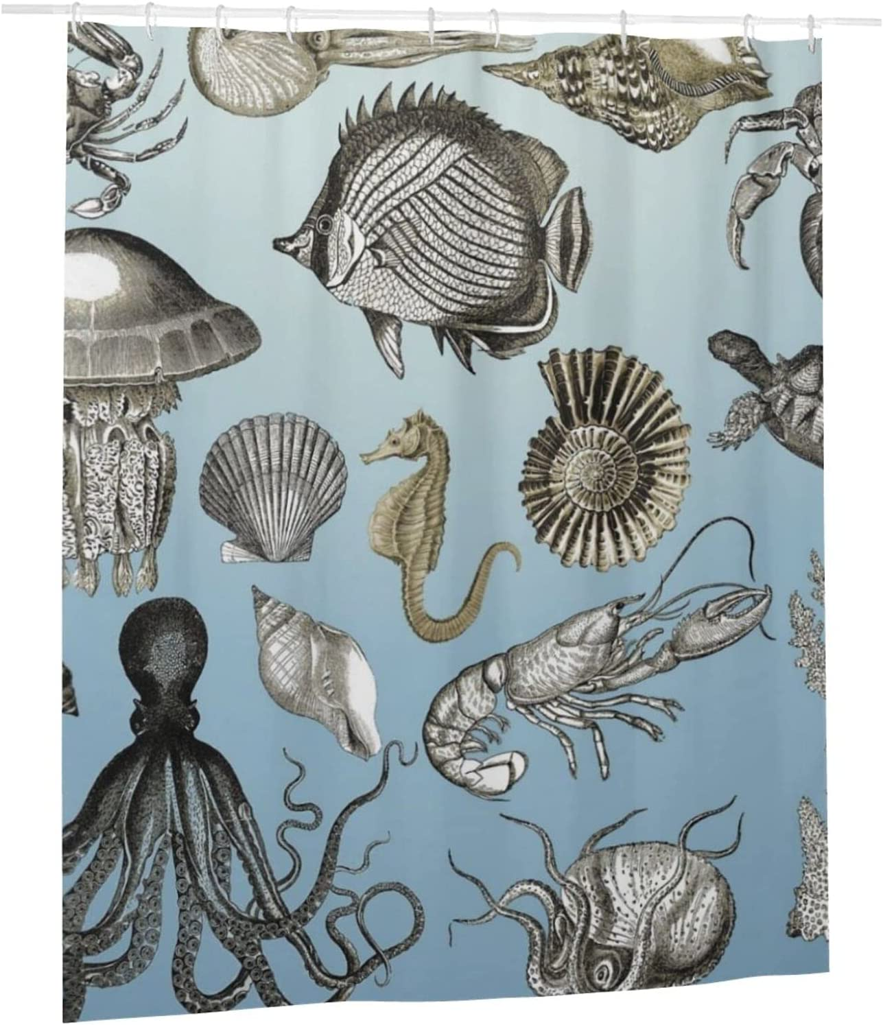 WIUEZWY Marine 40% OFF Cheap Sale Animal Low price Waterproof Shower Fabric Curtains Odorles