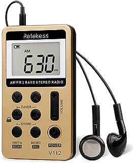 Retekess V-112 AM FM Radio Portable Mini Radio with Earphone Pocket Digital Tuning Rechargeable Battery LCD Display for Wa...