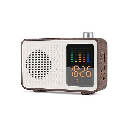 Sysmarts de Madera Retro estéreo inalámbrico Altavoces portátiles Bluetooth con FM Radio Reloj de Alarma Digital Compatible con Tarjeta TF/AUX-IN USB de Carga (Madera de Nogal)