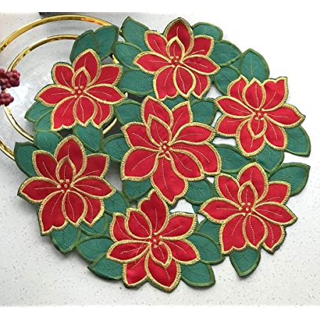 Cloudsun Holiday Christmas Placemats Set Of 4 For Home Dining Room Xmas Table Decorations Cutouts Embroidered Poinsettia Christmas Flowers With Gold Threads Dresser Scarf Round 14 Inch Home Kitchen
