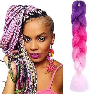 XiuYuan Ombre Braiding Hair 5 Bundles/Lot Kanekalon Jumbo Braids Hair Extension 24 Inch Jumbo Braiding For Twist 3 Tone Color (Purple-Red-Pink)