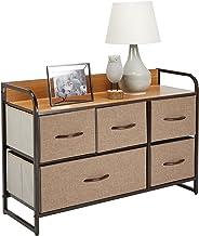 mDesign Wide Dresser Storage Chest, Sturdy Steel Frame, Wood Top, Easy Pull Fabric Bins - Organizer Unit for Bedroom, Hall...