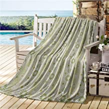 Mademai Floral Travel Blanket,Composition of Plants and Dots Geometric Pattern with Stripes,Kids Blankets Emerald Pale Green Goldenrod 60