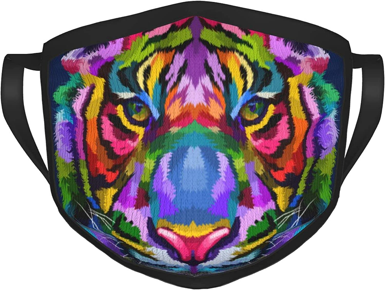 Máscara de tigre colorida aislada en azul para adultos y negro, protección facial portátil, bandana, borde elástico, pasamontañas para hombre/mujer
