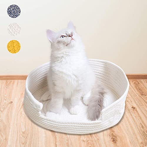 high quality iKiKin Cat Bed Basket Nest 2021 Round Cotton Rope Woven Warm Medium,Pet Sleeping Bed House Cute Fun Scratcher Scratching new arrival Scratch Mat Pad for Puppy Small Dogs Indoor Play Eco Washable Winter Summer outlet online sale