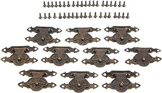 Yetaha 10 Pcs Lock Latch Hasps with 40 Screws Box Retro Latch Clasp Box Buckle for Vintage Wooden Box, Jewelry Box, Gift Box, Wine Box, Antique Bronze Bronze