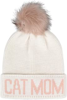 Hatphile Cat Lover Stretchy Cat Mom Faux Fur Pompom Knit Beanie Skully Toque