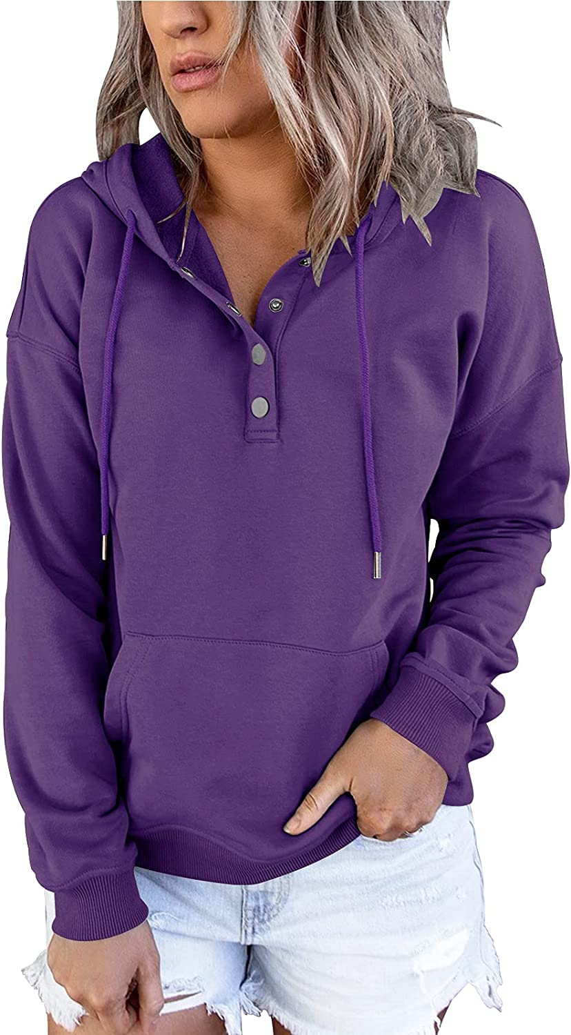 Dbtanjy Women's Hoodies Long Sleeve Tunic Tops Sweatshirts Pullover Button up Blouse with Pocket