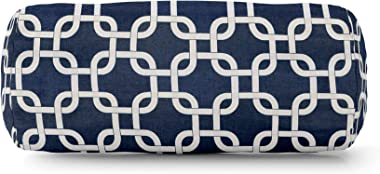 """Majestic Home Goods Navy Blue Links Indoor / Outdoor Round Bolster Pillow 18.5"""" L x 8"""" W x 8"""" H"""