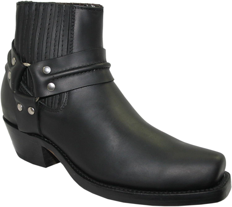 Grinders Harness Lo svart Unisex Unisex Unisex Western Biker Ankle Leather Boots (UK 6   EU 40 Män  LDS 7)  online försäljning