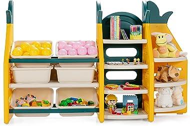 CostzonKidsToyStorageOrganizer, 3-Tier Bookshelf Corner Rack w/ 6 Bins & 7 Shelves Free Combination, 3-in-1 Toddler S