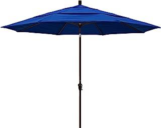 California Umbrella 11' Round Aluminum Market Umbrella, Crank Lift, Auto Tilt, Bronze Pole, Pacifica Pacific Blue