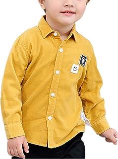 ZKKK 子供シャツ ブラウス ボーイズシャツ コーデュロイシャツ 秋服 トップス 無地 子供服 男の子インナーシャツ 通学 長袖シャツ キッズシャツ ベビーシャツ 上着 ファッション 可愛い カジュアル 通気性 人気