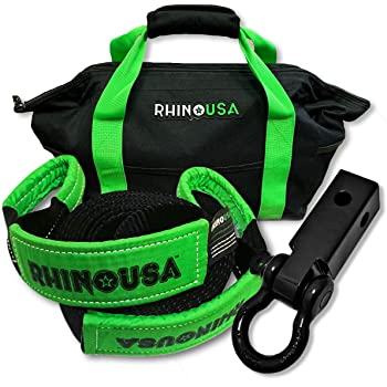 Emergency Offroad Rope Triple Reinforced Loop End Heavy Duty Draw String Bag Included Blackout Edition Rhino USA Recovery Tow Strap 3 x 30ft Lab Tested 31,518lb Break Strength