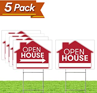 "Open House Real Estate Signs – [Upgraded] 5 Double Sided Red Property Yard Sign Bulk Pack & 5 Heavy Duty Rust Free H Wire Stakes – Large Directional Arrows - 18""x 24"" Realtor Agent Supplies"